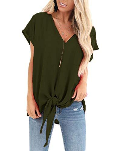 YOINS Damska koszulka z krótkim rękawem i dekoltem w serek seksowna koszulka z nietoperzem jednolita luźna bluzka na co dzień prosta krzyż przód odzież klubowa