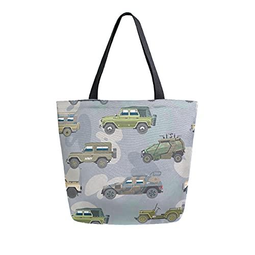 COZYhome - Bolsa de lona para coche, diseño de camuflaje y camión blindado, reutilizable, bolsa de compras, bolsa de hombro para mujeres, trabajo, escuela, etc
