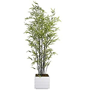 Vintage Home Artificial Bamboo Tree 78″ High Green Emerald Artificial Faux Bamboo Tree with White Fiberstone Planter for Home Decor
