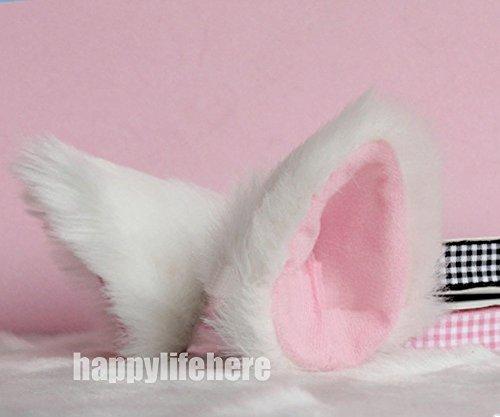 Hot Sweet Lovely Anime Lolita Cosplay Fancy Neko Cat Ears Hair Clip White with Pink Inside
