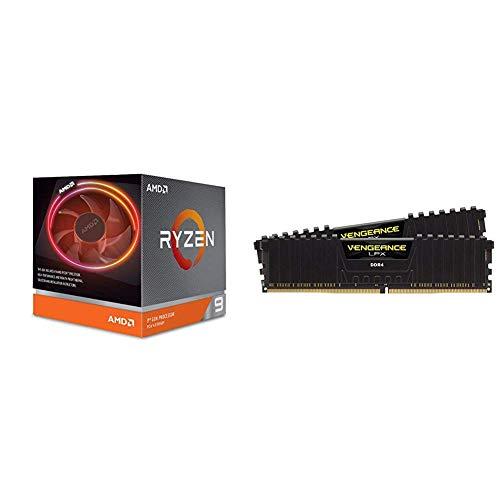 AMD Ryzen 9 3900x 4,6GHz AM4 70MB Cache Wraith Prism + Corsair Vengeance LPX 16GB (2x8GB) DDR4 3200MHz C16 XMP 2.0 High Performance Desktop Arbeitsspeicher Kit (für AMD Ryzen) schwarz
