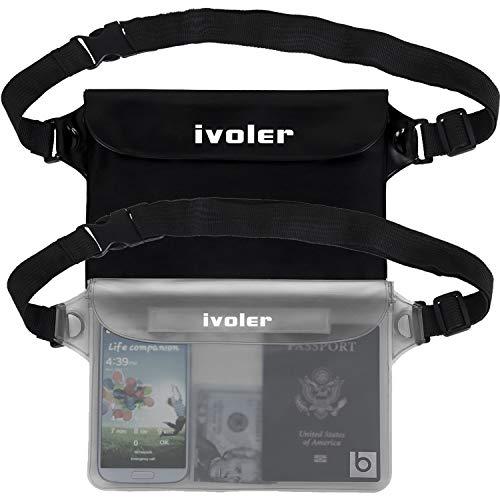 ivoler [2 Unidades] Riñonera Impermeable Universal con Correa de Cintura, Bolsa Estanca para Playa, Floating, Rafting, Kayak, Senderismo, Pesca, Escalada, Camping, etc. (Negro+Gris)