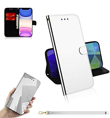 Guran Cover for iPhone 11 Pro (5.8') Smartphone Premium PU Mirror Leather Wallet Flip Protective Case Stand Function Magnetic Closure Card Holders Case - Silver
