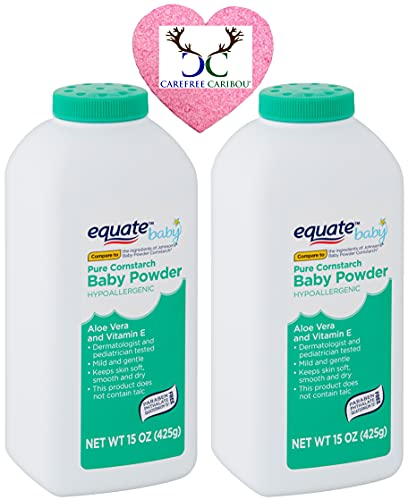 Pure Cornstarch Baby Powder Bundle. Includes Two 15oz Canisters of Equate Hypoallergenic Pure Cornstarch Baby Powder with Aloe Vera and Vitamin E Plus a Carefree Caribou Pink Compressed Facial Sponge!
