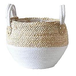 Paille Pot de fleurs Seagrasss Paniers pique-nique Cache-pot en rotin Tote ventre panier d'épicerie avec poignée pour le…
