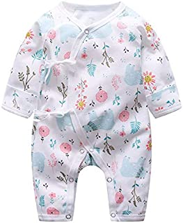 OUYAWEI Children Infant Romper with Butterfly Decor Long Sleeve Round Neck Jumpsuit for Baby HSF07 Flower and Bear 52cm