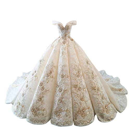 Gorgeous Sweetheart Lace Chapel Train Ball Gown Wedding Dress for Bride (M:Height65-67 Chest36-37 Waist28-29, Champagne)