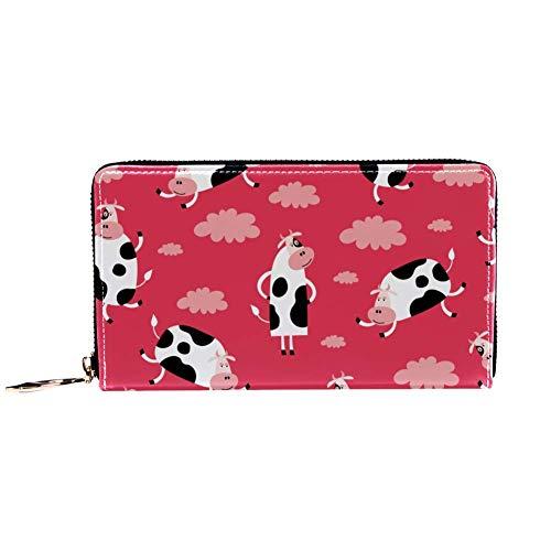 XCNGG Damen Reißverschluss um Brieftasche und Telefonkupplung, Reisetasche Leder Clutch Bag Kartenhalter Organizer Wristlets Brieftaschen, lustige Kuh