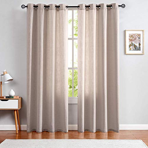 jinchan Ivory Linen Curtains for Bedroom Drapes for Living Room Burlap Textured Grommet Top 84 inch Curtain Set of 2 Panels