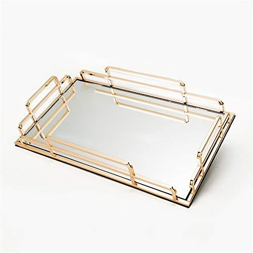 Honglimeiwujindian Parfümschale Gold Metal Rectangle Dekorative Couchtisch Parfüm Wohnzimmer Küche Serviertablett Kommode Badezimmer Schlafzimmer (Farbe : Gold, Size : 45x30x6cm)