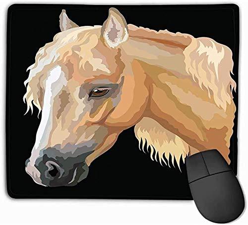 N/A Rechthoek Niet-slip Rubber Mousepad Gekleurde Paard Portret Palomino Welsh Pony Hoofd Lange Mane Profiel Geïsoleerd Zwart Levensecht 25 * 30Cm