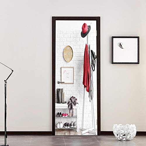 WZKED 3D Etiqueta De Puerta Percha De Ropa Simple Mural De La Puerta PVC Murales Carteles Pegatinas De Pared DIY Decoraciones para Sala De Baño Estar Cocina Infantiles Dormitorio 77X200Cm