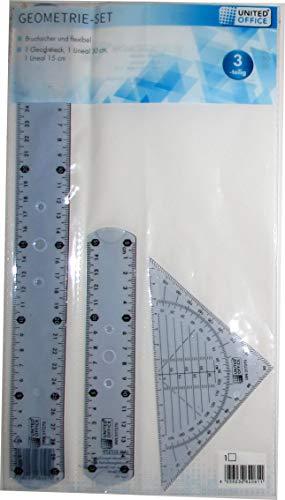 Unbekannt Flexibles Geometrie-Set 3-teilig: Geodreieck, Lineal 15 cm, Lineal 30 cm (Blau)
