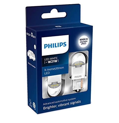 Philips automotive lighting 11065XUWX2 LED Lampadina di Segnalazione per Auto (W21W White), Bianco, Set di 2