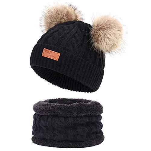 Yixda Baby Mütze Schal Set Mädchen Jungen Warm Fellbommel Beanie Hüte (B1-Schwarz)
