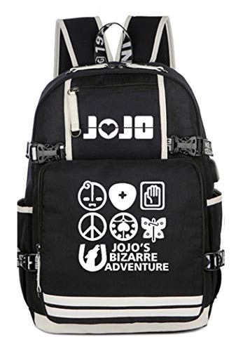 WANHONGYUE JoJo's Bizarre Adventure Anime Leuchtend Backpack Schultasche Student Laptoprucksack Rucksack mit USB-Ladeanschluss /3
