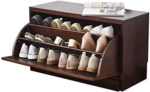 YLCJ Zapatero de Madera Maciza Entrada Simple y Moderna Caja de Zapatos de Roble Cubeta Delgada de Alta Capacidad Cubo basculante Vestuarios (Color: Marrón)