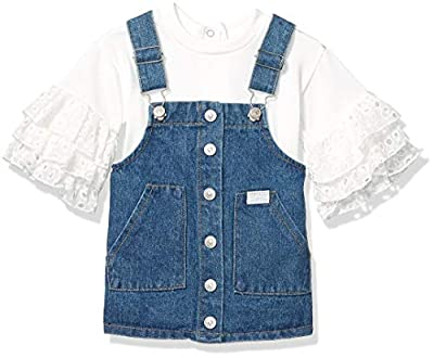 7 For All Mankind Baby Girls French Terry Eyelet Top and Denim Jumper Set, Bright White/Medium Wash, 12M