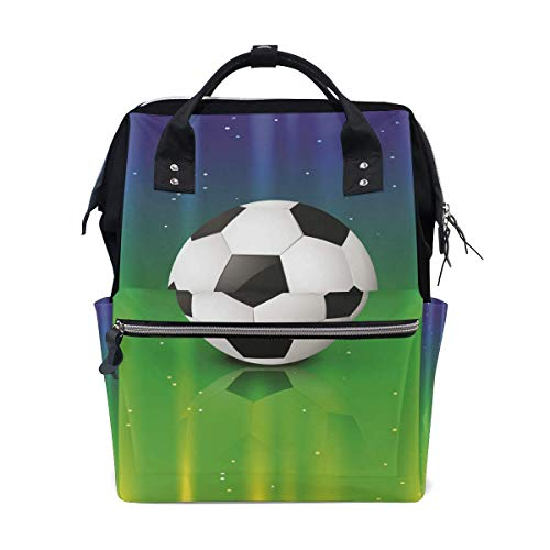 NHJYU Football Soccer Star Travel Sac à dos Large Nappy Sac à langer Laptop Sac à doss for Women Men