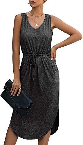 Longwu Mujer Cuello en V sin Mangas sin Mangas con cordón Lateral con Cintura Dividida Vestido de Chaleco a Media Pierna con Bolsillo Negro-XL