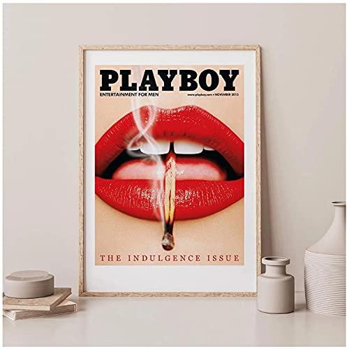 Cartel de moda vintage Impresión de arte de pared Pintura de lienzo rojo Labios de mariposa Imágenes de mujer para sala de estar nórdica Decoración para el hogar-50x70cmx1pcs -Sin marco
