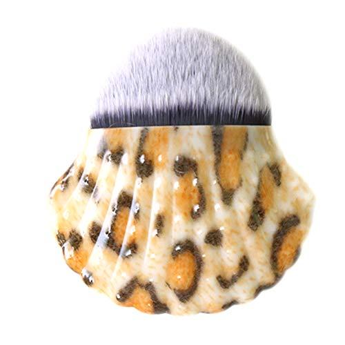 Gcroet 1PC Brosse De Maquillage Ronde Dense Soies Fondation Brosse Brosse CosméTiques Portable Parfait Pour Blending Liquide CrèMe En Poudre (Leopard)
