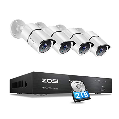 [4K Ultra HD] ZOSI 4K Security CCTV Cameras Systems 8CH H.265+ Surveillance Video Recorder with 2TB...