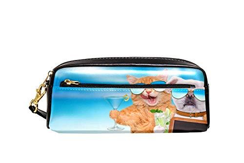 Sea Cat Dog Hold Blank Blackboard Pencil Case PU Leather Stationery Pouch Case School Pencil Box Women Cosmetic Bag