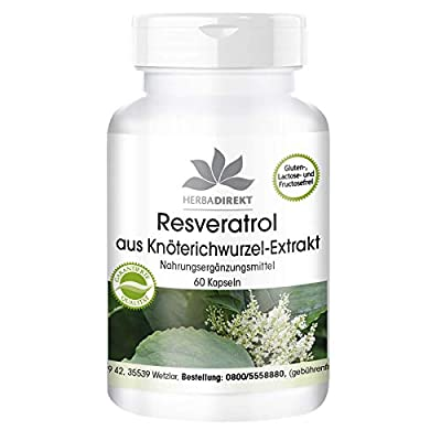 herba direkt Resveratrol 500mg from Knotweed Extract, Vegan, 60 Capsules, Without Silicon Dioxide