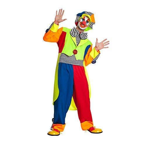 Kostümplanet® Clown-Kostüm Herren mit Clown-Mütze und riesen Clown-Fliege Größe 52/54