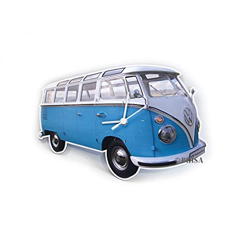 Brisa VW Collection - Volkswagen Furgoneta Hippie Bus T1 Van Reloj de Pared en Estilo Vintage de MDF, Cronómetro Decorativo sin Dígitos, Decoración de Cocina/Hogar/Oficina (Azul/Blanco)