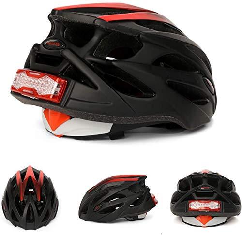 Lycoco Cascos de Bicicleta con Intermitentes y Luces de Freno, Cascos de Bicicleta de montaña, Cascos de Montar al Aire Libre con Redes para Insectos, Forro Desmontable,L