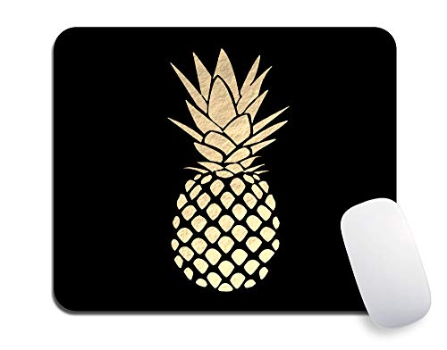 Mouse Pad, Black Mouse Pads, Custom Golden Pineapple Mousepads, Premium-Textured Mouse Mat, Non-Slip Rubber Base Mousepad for Laptop, Computer & PC, 9.5x7.9x0.12 inches