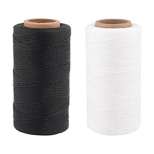 PandaHall Hilo encerado plano, 568 yardas de hilo de coser encerado de 1 mm, cuerda de cera de poliéster para pulseras, collares, artesanías, cuero, costura, encuadernación, blanco/negro