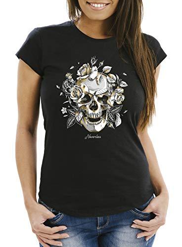 Neverless® Damen T-Shirt Totenkopf Rosen Skull Roses Schädel Slim Fit schwarz XXL