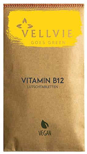 Vitamin B12 Lutschtabletten Zero Waste & Plastikfrei von VELLVIE | Methyl- & Adenosylcobalamin 180 Stk. mit 500 µg B12 - Vegan Nachhaltig | Nachfüllpack