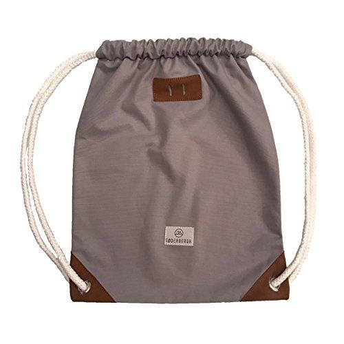 SODERBERGH Turnbeutel Gym Bag Sack Rucksack Sportbeutel Tasche Canvas Hipster Unisex Damen Herren Kinder, Farbe:Grau