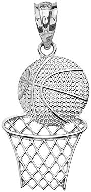 Textured 925 Sterling Silver Sports Charm Basketball Hoop Pendant product image