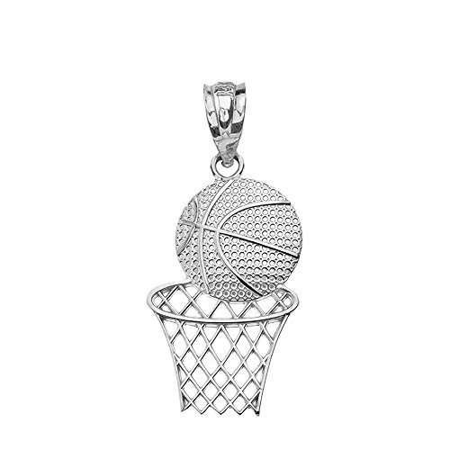 Textured 925 Sterling Silver Sports Charm Basketball Hoop Pendant