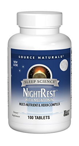 Source Naturals Sleep Science NightRest Multi-Nutrient & Herb Complex With Melatonin, GABA, Passion Flower, Chamomile, Lemon Balm & More - Herbal Formula - 100 Tablets