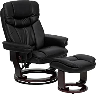 Flash Furniture Contemporary Multi-Position Recliner and Curved Ottoman with Swivel Mahogany Wood Base in Black Leather (Renewed)