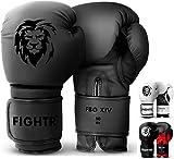 FIGHTR Guantes de Boxeo, Ideales para Estabilidad y Fuerza de Impacto, Guantes para Boxeo, MMA, Muay Thai, Kickboxing y Artes Marciales, Incluye Bolsa de Transporte (All Black, 10 oz)