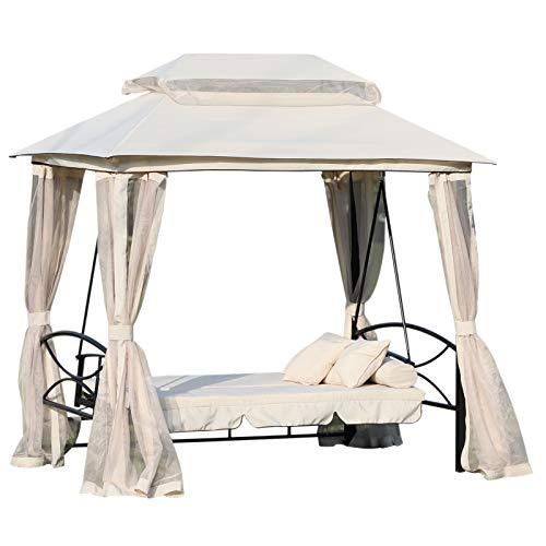 Outsunny 3-Sitzer Hollywoodschaukel Gartenschaukel Pavillon mit Seitenwänden Liegefunktion Stahl + Polyester Beige 245 x 165 x 243 cm
