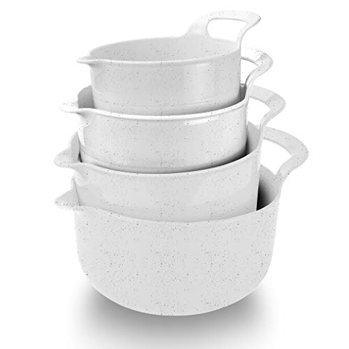 Cook with Color Mixing Bowls - 4 Piece Nesting Plastic Mixing Bowl Set with Pour Spouts and Handles (Speckled White)