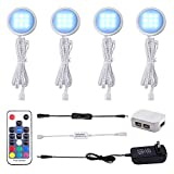 AIBOO RGB Color Changing LED Under Cabinet Lights Kit, Aluminum Slim Multi Color Puck Lights for Kitchen Counter Furniture Holiday Ambiance Christmas Decor Lighting (4 Lights)