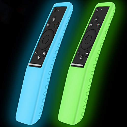 2Pack Silicone Protective Case for Samsung Smart TV Remote Controller BN59 Series,Remote Case Holder Skin for Smart 4K Ultra HDTV Remote,Shockproof Samsung Curved Remote Back Cover-Glowblue Glowgreen
