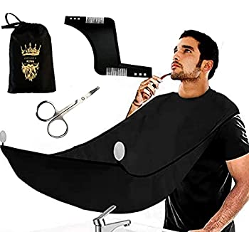 Beard Apron Bib Hair Clippings Catcher With Beard Shaping Tool Scissors& Bag Mens Gifts Waterproof and Non-Stick Grooming Beard Cape Apron for Shaving Suction Cups Gift for Men  Black