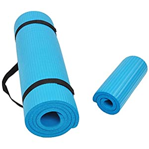 BalanceFrom GoYoga+ All-Purpose 1/2-Inch Extra Thick High Density Anti-Tear Exercise Yoga Mat and Knee Pad with Carrying Strap