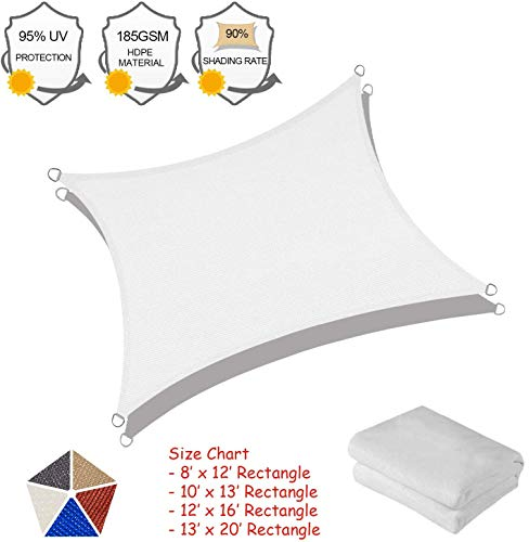 Sun Shade Sail, 16'5''x 16'5'' Pure White Square Outdoor Awning Shade Cover 185GSM HDPE UV Block for Patio Shading