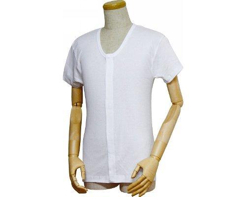 紳士前開きシャツ (ワンタッチテープ式) 半袖   M